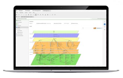 Laptop, das die Auswertung aller physischen und logischen Beziehungen der IT-Assets in der FNT-Lösung für IT Infrastructure Management abbildet.