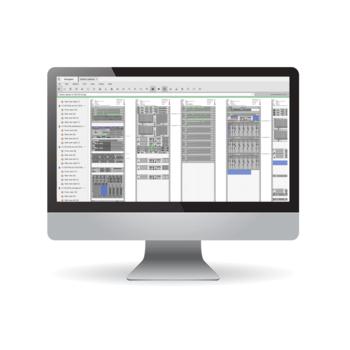 Desktop-Monitor mit Darstellung der FNT DCIM-Lösung mit fotorealistischer Ansicht aller Seiten eines Racks, das mit vorhandenen und geplanten Servern gefüllt ist.