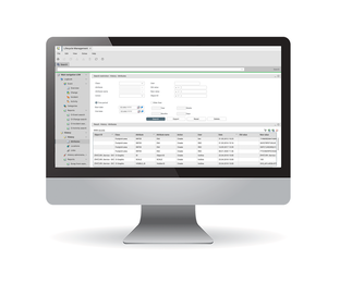 Monitor showing FNT's Storage, software, and application management feature for more efficient IT infrastructure management.