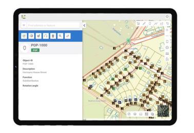 FNT GeoMaps: Georeferenzierte Darstellung eines FTTx-Trassen Netzes inkl. der entsprechenden Knotenpunkten.